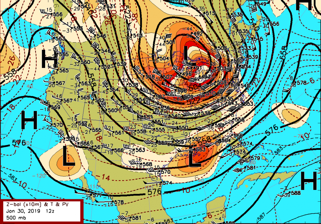 An objective analysis of weather observations near the middle level of the atmosphere (at 500 mb) based on balloon sounding data over North America, which is plotted at the sounding locations. The solid, black contours are heights of this pressure surface in tens of meters MSL, which range mostly above 5 km above sea level. The dashed red contours depict lines of equal temperature in degrees Celsius.